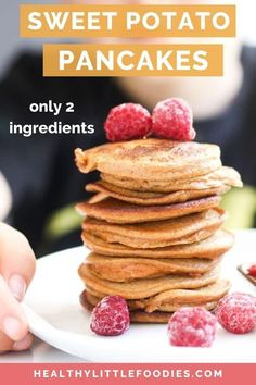 These two ingredient sweet potato pancakes are healthy, delicious and easy to make. Great for baby led weaning, toddlers or big kids. Serve for breakfast, pop in the lunchbox or enjoy as a snack. Eggs And Sweet Potato, Sweet Potato Pancakes, Sweet Potato Recipes, Baby Pancakes, Baby Puree Recipes, Baby Food Recipes, Cooking Recipes, Kid Recipes, Toddler Recipes
