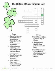 Use what you already know about St. Patrick's Day (and learn some new fun facts as well) with this St. Patrick's Day crossword.