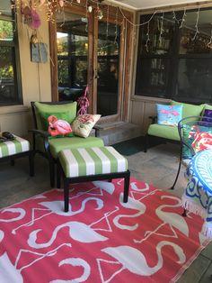 How many flamingos in this photo? Can you have too many flamingo. How many flamingo Small Deck, Decor, Building A Deck, Diy Porch, Home, Flamingo Decor, Tropical Decor, Outdoor Living, Home Decor