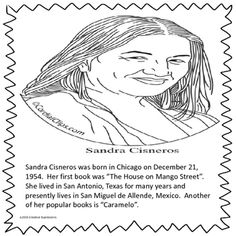 This Sandra Cisneros poster can be used in an interactive notebook or a small poster. It can be used as a beginning to a larger research project or a coloring page. The House On Mango Street, Sandra Cisneros, Alphabet Words, Popular Books, Research Projects, Interactive Notebooks, Coloring Pages, Larger, School