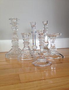 Vintage Glass/Crystal Candlesticks,Mismatched,Set of Six (6),Glass Candle Holders,Crystal Candle Sticks,Glass Candlestick Holders,Weddings by ViaLuciaVintage on Etsy