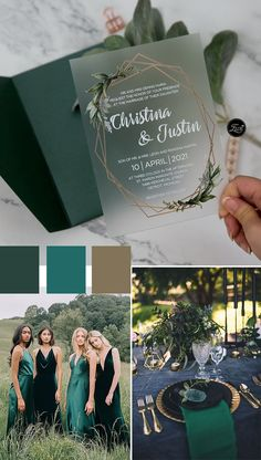 modern botanical design acrylic wedding card