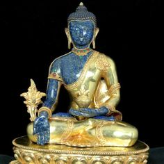 ♥♥♥Lapis Medicine Buddha - beautiful! Medicine Buddha is a teacher of medicine, King of Lapis Lazuli Light (Bhaishajyaguru, Sangye Menla, Vaidurya). His radiant body is azure blue. His left hand is in the meditation mudra and holds a begging bowl full of long life nectar in his lap. As a sign that he gives protection from illness, his right hand is outstretched in the gesture of giving and holds the great medicine, the myrobalan plant (a-ru-ra).