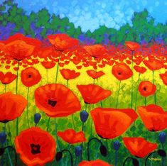 Poppy Field V Painting by John Nolan - Poppy Field V Fine Art Prints and Posters for Sale Poppy Flower Painting, Watercolor Flowers, Flower Art, Poppies Painting, Images Gif, Art Images, Bing Images, Bright Paintings, Art Floral