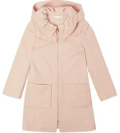 CHLOE Hooded wool coat 4-14 years (Washed pink