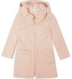 CHLOE Hooded wool coat 4-14 years (Washed pink