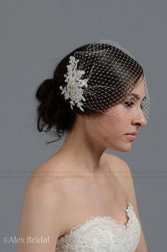 Wedding Veil  Ivory blusher birdcage veil with by ELDesignStudio, $59.99