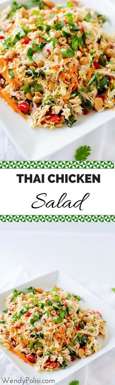 Thai Chicken Salad with Ginger Lime Dressing - This healthy salad recipe is packed with flavor and texture! Naturally gluten free and peanut free!