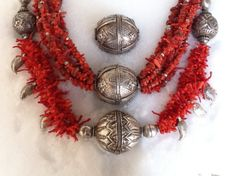 Necklaces coral and silver / Old Afghan silver beads