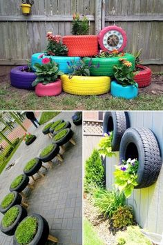 24 Creative Garden Container Ideas Tire planters! Tires and pallets seem to be the way to decorate inexpensively these days.