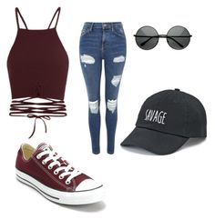 """""""Typical girl"""" by sabrena-love ❤ liked on Polyvore featuring Topshop, Converse and SO"""
