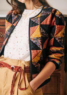 Mélanger Les Impressions, Quilted Clothes, Quilted Coats, Coton Biologique, Mixing Prints, Parisian Style, Refashion, Printed Cotton, Organic Cotton