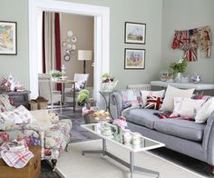 Pastel-coloured, tea-room inspired living space.