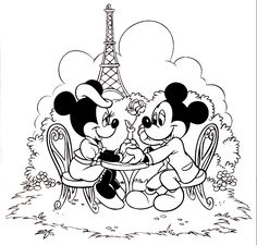 minnie mouse picture to color Mickey And Minnie Valentine