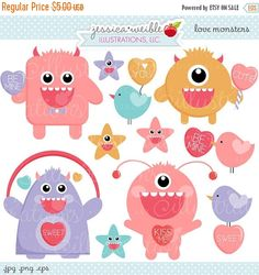 This cute Love Monsters graphic set comes with 11 cliparts including: 4 cute Valentine Love Monsters, 3 valentine birdies, and 4 monster face stars.    Graphics are created in vector image software and are saved at High Quality 300 dpi Resolution.    Image Size:    -Graphics will be 7 inches at their tallest or widest point.    Formats Included:    -High Resolution JPG with White Background  -High Resolution PNG with Transparent Background  -EPS Vector Format File (Opens with Adobe…