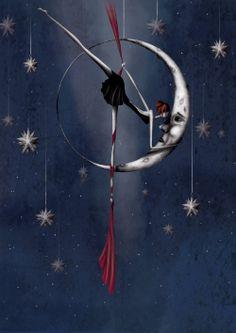 La lune, illustration numérique au format A4