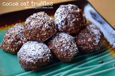 Cocoa Oat Truffles, These delicious little treats are raw, vegan, contain no processed sweetners (unless you dust them with powdered sugar) and are a perfect treat for when your sweet tooth is screaming at you.