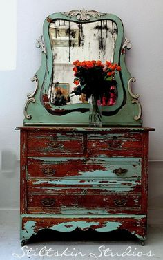 I'm in love with this and need it in my home!! Rustic Shabby Farmhouse Dresser #westernfurniture