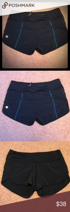 Lululemon Speed Shorts Size 2 navy blue Lululemon speed shorts. These were a gift from my sister who has been trying to get me into Lulu forever. I wore and washed them twice, but I decided I would be more comfortable in a 4. Selling these so I can buy a pair that fit! 😊 Excellent condition. lululemon athletica Shorts