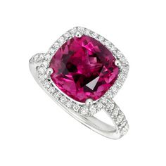 """Our """"Twinkle Twinkle"""" diamond frame cushion ring with rubellite tourmaline in 18K white gold online @Brides"""