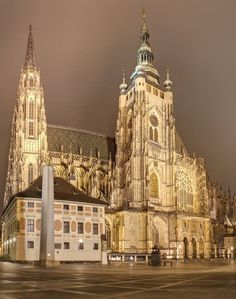 St.Vitus cathedral at night, Prague