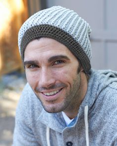 This relaxed beanie is perfect for stylish guys. Shown in Bernat Cotton-ish by Vickie Howell. #crochet #FathersDay