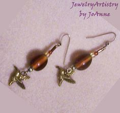 Hummingbird Earrings  Amber Glass with Gold by by JewelryArtistry, $20.00