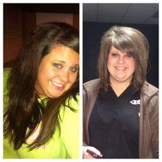 Cut about 8 inches off the gorgeous ladies hair!! Love this look on her!!