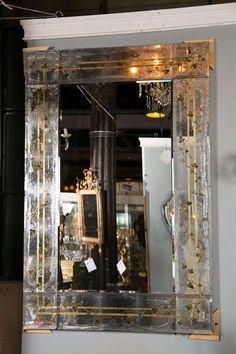 Pair of Magnificent Verre Eglomise Mirrors attrib Jansen image 5