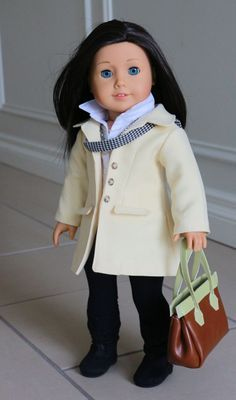 American Girl Doll Clothing, Fits 18 inch Dolls, Outfit with Pale Yellow Noodle Original Jacket, Leggings, Shirt, Necklace, Scarf & Handbag by NoodleClothing on Etsy https://www.etsy.com/listing/223934710/american-girl-doll-clothing-fits-18-inch