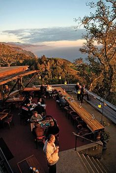 Nepenthe Restaurant, Big Sur, CA. It's a little tourist trappy, but the restaurant views are spectacular.