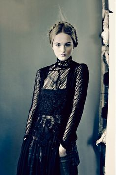 jeans with attic princess clothes (Vogue Italia March 2014 | Jean Campbell by Paolo Roversi).