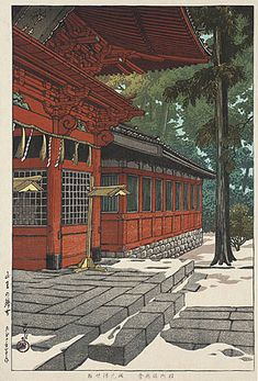hanga gallery . . . torii gallery: Snow at Sanno Temple by Kawase Hasui