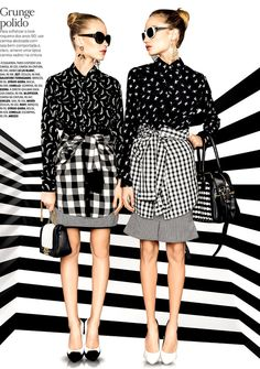 For the love of monochrome :DThais Custodioand Giuliana Daga for May Vogue Brasil captured by Tavinho Costa and styled by Raquel Lionel.
