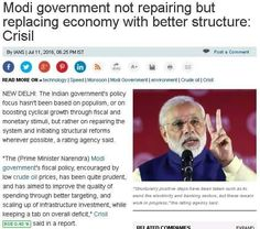 @NarendraModi government not repairing but replacing economy with better structure: Crisil  The Indian government's policy focus hasn't been based on populism, or on boosting cyclical growth through fiscal and monetary stimuli, but rather on repairing the system and initiating structural reforms wherever possible, a rating agency said.    Read more at: http://economictimes.indiatimes.com/articleshow/53155038.cms?from=mdr&utm_source=contentofinterest&ut