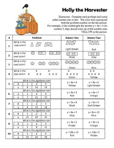 This product is a coloring activity that allows the student to practice finding the next term in a pattern.  Students are also asked to find the al...