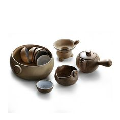 Handmade a Complete Set of Chinese Pottery Tea Wares/tea Sets(six Cups,one Teapot,one Faircup, One Filter and One Tea Wash)