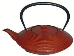 Brick Red Tetsubin Cast Iron Tea Pot with a Round Flat Orbit Featuring Horizontal Rings.