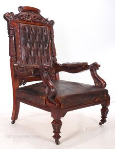This impressive  very rare Century English antique library chair is in  great condition with its original battered brown leather  Heavily carved  withEarly Barber s Chair   Armchairs  Modern and Window. Antique Library Armchairs. Home Design Ideas