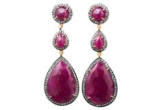 Though regal in design, this stunning pair of pink-sapphire drops, framed in sparkling pavé-set diamonds, adds show-stopping glamour to even the most basic ensemble.  On our travels through India, we discovered the relaxed, colorful jewelry by Cygnet et Cie and fell in love. With a range of styles from glamorous to relaxed, this collection offers jewels that dress up jeans and a T-shirt just as easily as they add playfulness to a little black dress.