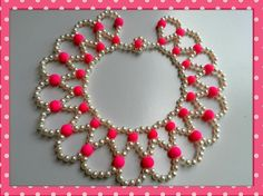 Project of the day: Happy Hearts Necklace The materials you need: beads colors) seedbeads 2 size 10 or 12 needles thread (optional thread conditio. Tutorial Colar, Necklace Tutorial, Diy Necklace, Pearl Necklace, Beading Projects, Beading Tutorials, Beading Patterns, Seed Bead Jewelry, Bead Jewellery