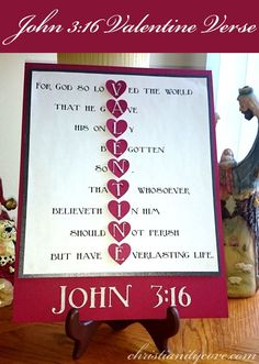 Create a wonderful and special gift, as well as learn this incredible scripture about believing in God! With just a couple of materials and a few easy steps, you will have a treasured memory and a deeper understanding of John 3:16. #valentinescrafts