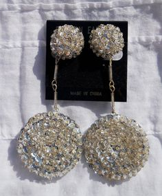 Silver Sequined & Beaded Dangle ClipOn Earrings  clip by 87rabbits, $10.00