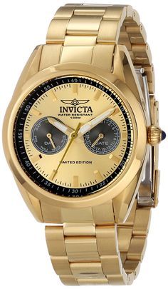 Invicta Women's INVICTA-14707 Speedway Gold Dial 18k Gold Ion-Plated Stainless Steel Watch *** Click on the watch for additional details.