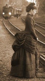 This is my very own favorite dress. I made this ensemble in 2006 and wore it to an event that celebrated the Swedish railroad turning 150 years. The steam train in the background is BLJ 5 Thor for those interested. I bought the silk from exclusive_silks in India on Ebay and I've used patterns by…