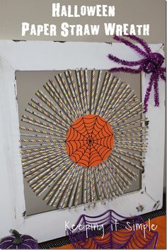 Halloween Decor Idea Paper Straw Wreath