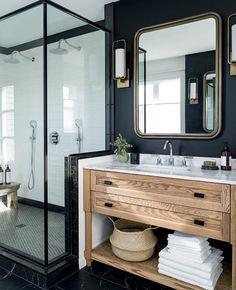 Une déco en marbre noir dans la salle de bain | My Blog Deco Interior Design Minimalist, Interior Modern, Bathroom Trends, Bathroom Ideas, Bathroom Renovations, Bathroom Organization, Remodel Bathroom, Bathroom Colors, Shower Ideas