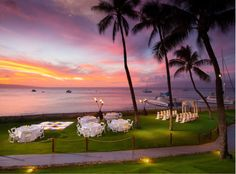 Sunset view of wedding and reception at The Westin Maui Resort and Spa #SPGDreamWedding #SPGWeddings