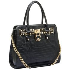 HALEY Black Crocodile Gold Studded Structured Satchel Purse Style Tote Handbag