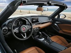 Interior for the new Fiat Abarth Spider in 2017 Fiat Abarth, Fiat 850, Mazda Mx 5, Mercedes Slk, New Fiat, Fiat 124 Spider, Fiat Cars, Steyr, New And Used Cars